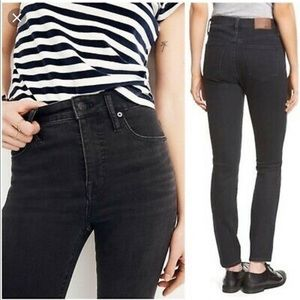 Madewell High Riser Washed Black Skinny Jeans